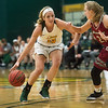 Missouri Southern's Chelsey Henry drives the ball against Henderson State's Lani Snowden during Friday's game at the Leggett and Platt Athletic Center.<br /> Globe | Roger Nomer