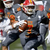 Pittsburg State's Morgan Selemaer runs for a defensive touchdown during the Gorillas' Homecoming game against Central Missouri on Saturday at Carnie Smith Stadium.<br /> Globe | Laurie Sisk