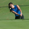 Carthage's Rylee Scott hits onto the green on Monday at Schifferdecker Golf Course.<br /> Globe | Roger Nomer
