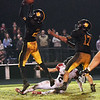 Cassville's Deven Bates intercepts a Lamar pss in the final seconds of their game on Friday night at Cassville.<br /> Globe | Laurie Sisk