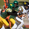 Missouri Southern's John Ejizu (26) tries to catch up to Central Oklahoma's Mekail Hall (17) during their game on Saturday at Fred G. Hughes Stadium.<br /> Globe | Laurie Sisk
