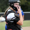 McDonald County catcher Kylie Helm looks to the dugout during the Mustangs' sectional game against Bolivar last week at MCHS.<br /> Globe | Laurie Sisk