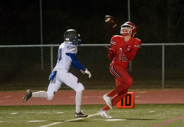 Carl Junction's Garret Taylor catches a pass over Hillcrest's Tyler King for a touchdown during Friday's game in Carl Junction.<br /> Globe | Roger Nomer