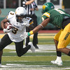 Missouri Western's Shamar Griffith (3) looks to get past Missouri Southern's Richard Jordan Jr. (5) during their game on Saturday at Fred G. Hughes Stadium. <br /> Globe | Laurie Sisk