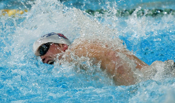 Joplin's Ben Wardlow competes in the 200m freestyle on Thursday at Missouri Southern.<br /> Globe | Laurie Sisk
