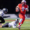 Cardinal's Devrin Weathers (9) runs the ball leaving behind two of Neosho's defenders during their Class 4 District 6 Championship game on Friday night at Cardinal Stadium.<br /> Globe|Israel Perez