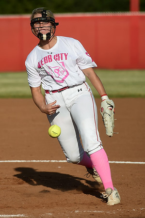 Webb City's Haidyn Berry delivers a pitch to the plate during the Cardinals game against Republic on Thursday at WCHS.<br /> Globe   Laurie Sisk