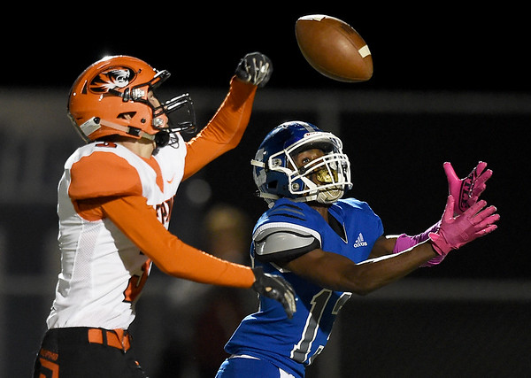 Carthage receiver Marcus Huntley (13) pulls down a long touchdown reception after Republic's Landon Porter (3) tipped the pass during their game on Friday night at Carthage.<br /> Globe | Laurie Sisk
