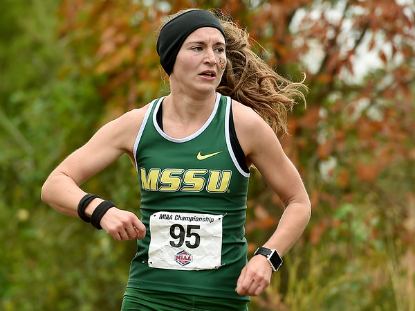 Missouri Southern's Kelie Henderson brings in a sixth place finish for the Lions during the MIAA Cross Country Championships on Saturday at MSSU.<br /> Globe | Laurie Sisk
