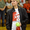 Liberal softball player Brooke Bearden tries to contain her emotions while being recognized as a Sportscenter Top 10 during a live ESPN broadcast on Thursday morning at Liberal High School. Brooke was acknowledged for her courage after suffering a stroke.<br /> Globe | Laurie Sisk