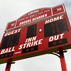 A new scoreboard, courtesy of ESPN, looms over the Liberal High School softball field and acknowledges softball player Brooke Bearden as a Sportscenter Top 10. Bearden was acknowledged for her courage after suffering a stroke.<br /> Globe | Laurie Sisk