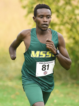 Missouri Southern's Gidieon Kimutai cruises to a first place finish during the MIAA Cross Country Championships on Saturday at MSSU. The MSSU men claimed the team title.<br /> Globe   Laurie Sisk