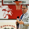 ESPN anchor John Anderson preps the crowd before a ceremony proclaiming Liberal softball player Brooke Bearden as an ESPN Top 10 during a special live broadcast on Thursday at Liberal High School. Brooke was acknowledged for her courage after suffering a stroke.<br /> Globe | Laurie Sisk