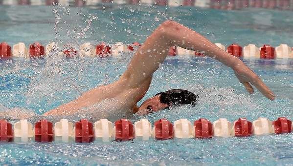 Webb City's Ethan Shipley swims for a second place finish in the 200 yard individual medley during the Central Ozarks Championships on Tuesday at Webb City High School. <br /> Globe | Laurie Sisk