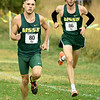 From the left: Cody Berry and Ryan Riddle contribute to the team's total as the Lions claimed first place during the MIAA Cross Country Championships on Saturday at MSSU. Riddle and Berry finished seventh and eighth respectively.<br /> Globe | Laurie Sisk
