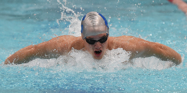 Carthage's Cole Brayden swims for a conference title in the 200 yard individual medley during the Central Ozarks Championships on Tuesday at Webb City High School. <br /> Globe | Laurie Sisk