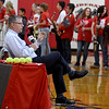 Flanked by members of the Liberal High School band, ESPN Sportcenter anchor John Anderson, prepares to honor Liberal softball player Brooke Bearden as a Sportscenter Top 10 during a live ESPN broadcast on Thursday morning at Liberal High School. Brooke was acknowledged for her courage after suffering a stroke.<br /> Globe | Laurie Sisk