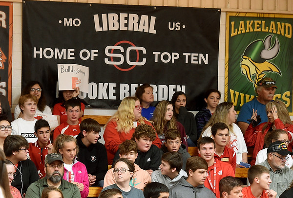 Students and communit members gather as ESPN Sportcenter anchor John Anderson recognizes Liberal softball player Brooke Bearden as a Sportscenter Top 10 during a live ESPN broadcast on Thursday morning at Liberal High School. Brooke was acknowledged for her courage after suffering a stroke.<br /> Globe | Laurie Sisk