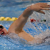 Joplin's Zane Reavley swims his way to a first place finish in the 200m freestyle during the Joplin Invite on Thursday at Missouri Southern.<br /> Globe | Laurie Sisk
