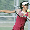Globe/Roger Nomer<br /> Joplin's Laela Zaidi, senior, hits a ball during a match against Carl Junction on Wednesday.