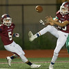 Joplin's Kane Parks (23) misses the chance for an interception in the endzone as Pierce City's JAckson Kleiboeker(9) defends during their game on Thursday night at JHS. Also pictured is Joplin's Kelcyn Newton (5.)<br /> Globe | Laurie Sisk