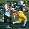 Missouri Western defensive back Jonathan Owens (3) works to keep Missouri Southern tight end Demontra McNealy (81) out of the endzone during their game on Saturday night at Fred G. Hughes Stadium.<br /> Globe | Laurie Sisk