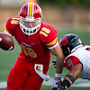 Pittsburg State receiver Brenner Clemons works to get past Central Missouri's Diaron Rhodes during their season opener last Saturday at PSU.<br /> Globe| Laurie Sisk