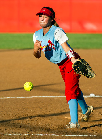Webb City pitcher Jade Allen throws from the circle during the Cardinals' game against Neosho on Thursday night at WCHS.<br /> Globe | Laurie Sisk