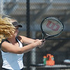 Globe/Roger Nomer<br /> Neosho's Baylee Scribner hits a ball during Monday's match against Joplin at Joplin.