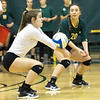 Missouri Southern libero Teryn Scott (3) digs a spike as teammate Marija Milivojev (20) looks on during the Lions' match against Chadron State on Friday at Leggett & Platt.<br /> Globe | Laurie Sisk