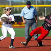 Joplin second baseman Layne Merriman (12) gets the force out on West Plains' xx xx (24) during their game on Tuesday at JHS.<br /> Globe | Laurie Sisk