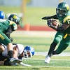 Missouri Southern runningback Shemar Coleman (17) turns upfield for a long gain during the Lions' game against Nebraska-Kearney on Saturday at Fred G. Hughes Stadium.<br /> Globe   Laurie Sisk