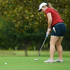 Globe/Roger Nomer<br /> Joplin's Kaitlynn Gilliland sinks a putt during Monday's conference tournament at Schifferdecker Golf Course.
