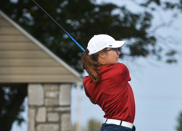 Globe/Roger Nomer<br /> Joplin's Anna Iorio hits a tee shot during Monday's conference tournament at Schifferdecker Golf Course.