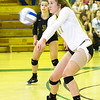 Missouri Southern's Janelle Brehm (17) handles a Pittsburg State serve during their match on Saturday at MSSU.<br /> Globe | Laurie Sisk