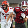 Jopln's Nathan Glades (6) breaks free for a 62-yard touchdown as Republic's (1) Cam Floyd gives chase during their game on Friday night at Junge Stadium.<br /> Globe | Laurie SIsk