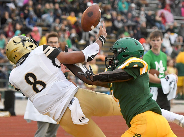 Missouri Southern defensive back Paul Williams breaks up a pass in the endzone intended for Lindenwood's Erik Henneman during the Lions home opener on Saturday at Fred G. Hughes Stadium.<br /> Globe | Laurie Sisk
