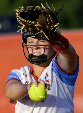 Webb City starter Haidyn Berry delivers a pitch to the plate during the Cardinals game against Nixa on Thursday night at WCHS.<br /> Globe | Laurie Sisk