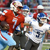 Webb City runningback Durand Henderson (7) breaks free for a long gain as Carthage defensive back Blake Schrader (5) gives chase during their game on Friday night at Cardinal Stadium.<br /> Globe | Laurie Sisk