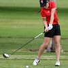 McDonald County's Lilly Allman drives off the no. 18 tee on Wednesday at Schifferdecker.<br /> Globe   Laurie Sisk