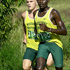 From the left: Missouri Southern's Cody Berry and Gidieon Kimutai run stride for stride as they pace the MSSU men to a second place finish at the Missouri Southern Stampede on Saturday at MSSU.<br /> Globe | Laurie Sisk