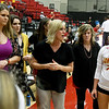 Pittsburg State volleyballl coach Jen Gomez, center, gives last minute instructions to her team before the start of their match oon Tuesday night against Central Oklahoma at John Lance Arena.<br /> Globe | Laurie SIsk