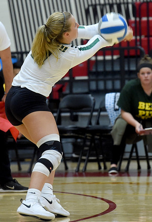 Missouri Southern's Emalee Lowe (11) returns a serve during the Lions match against Pittsburg State on Tuesday at PSU.<br /> Globe   Laurie SIsk