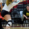 Missouri Southern's Emalee Lowe (11) returns a serve during the Lions match against Pittsburg State on Tuesday at PSU.<br /> Globe | Laurie SIsk