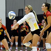 Pittsburg State libero Marissa Bates (6) returns a serve as teammates Addison Weybrew (18) and Erika Ivkov (11) look on during their match against Missouri Southern on Tuesday night at PSU.<br /> Globe | Laurie Sisk
