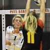 Missouri Southern's Morgan Nash (1) tries to get a spike past Pittsburg State's Erika Ivkov (11) during their match on Tuesday night at PSU.<br /> Globe | Laurie Sisk