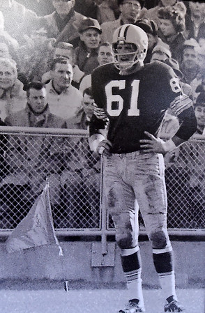 A vintage photo depicts Former Green Bay Packer Nelson Toburen in the early 1960s at Lambeau Field.<br /> Globe | Laurie Sisk