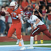 Webb City receiver Cale McCallister (15) gets past Joplin's Elijah Eminger (29) for a touchdown during their game on Saturday night at Webb City High School.<br /> Globe | Laurie Sisk