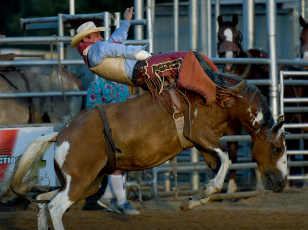 AJ Yocham, of Haskell, Okla., rides out his eight seconds during the bareback competition on Friday night at the Columbus Saddle Club Rodeo in Columbus.<br /> Globe | Laurie Sisk