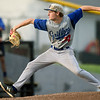 Nevada's Nick Iossi delivers a pitch to the plate during Nevada's game against the Outlaws on Tuesday night at Lyons Stadium.<br /> Globe | Laurie Sisk
